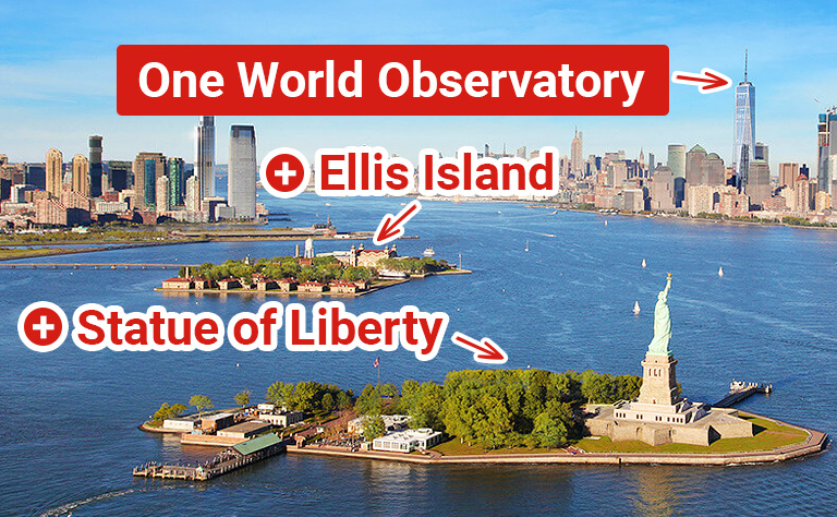 One World Observatory + Statue of Liberty with Pedestal Access and Ellis Island Tour Tickets