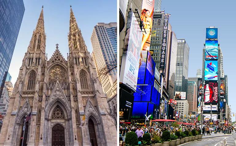 Times Square Saint Patricks Cathedral New York tour